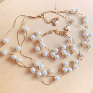 Betsy Johnson Pearl multi Strand Gold Necklace